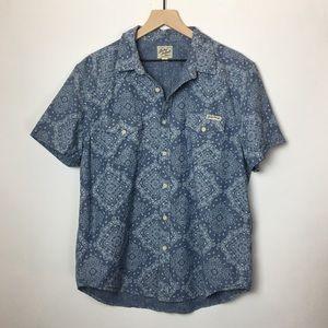 Lucky Brand Bandana Print Chambray Button Up Shirt